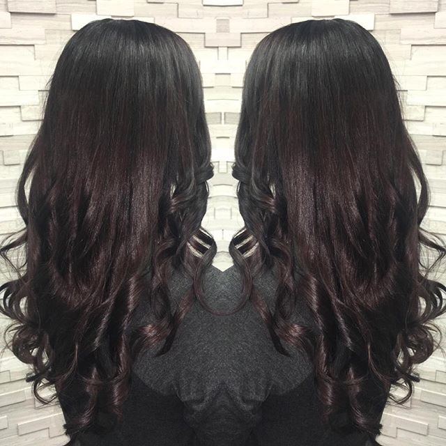 Deep dark brown with a hint of red to add warmth and richness. We ended with a gloss for shiny and silky locks. Deep Plum hair color by stylist Jessica Gossard of My Hair Therapy Sandy Luxury Hair Salon