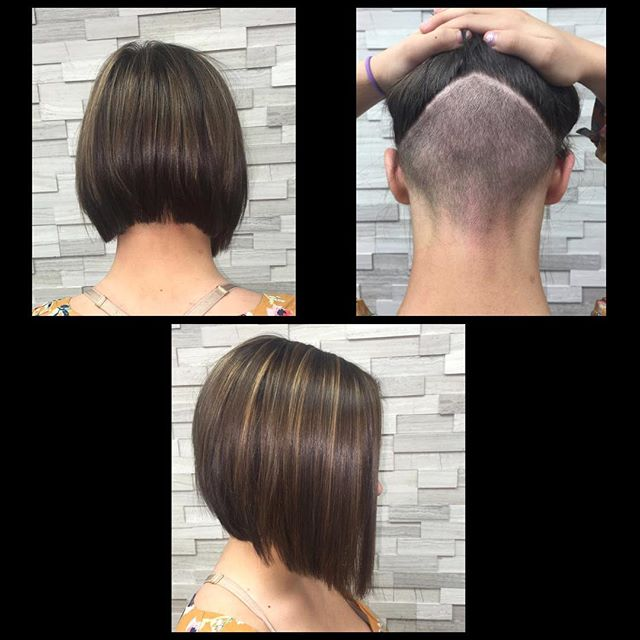Undercuts are so fun and bold. They are also a cute and trendy way to manage thick hair. Goes perfect with this classy A-line. Undercut by stylist Jessica Gossard of My Hair Therapy Sandy Luxury Hair Salon