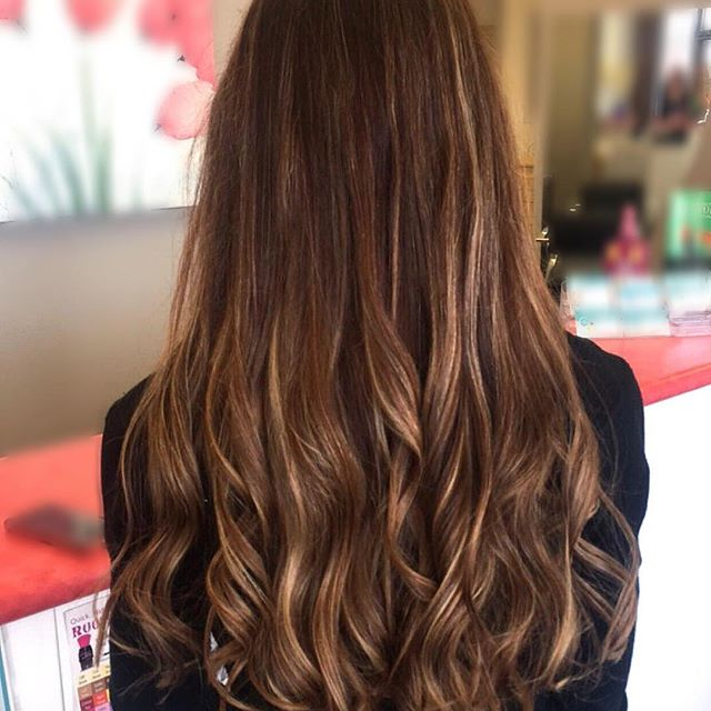 Custom colored with four different highlight and low light colors for a natural sun kissed look. Subtle balayage adds youthfulness with low maintenance for easy grow out. Sunkissed Brunette color by stylist Jessica Gossard of My Hair Therapy Sandy Luxury Hair Salon.