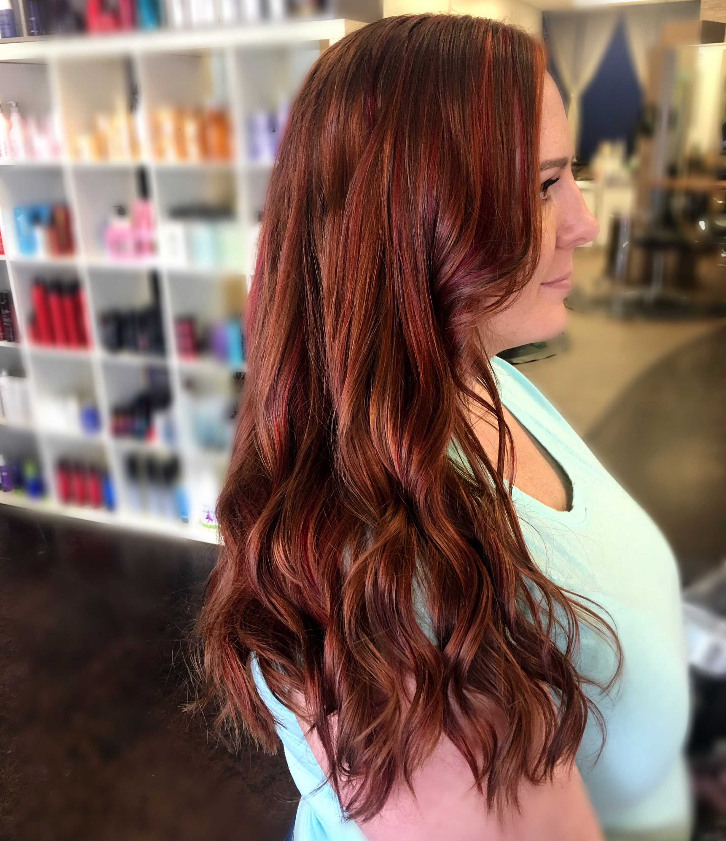 Burgundy, copper, and red hot swirls flowing perfectly through these gorgeous locks. This is a classy way to add flare and spark to your look. Burgundy on Fire hair color by stylist Jessica Gossard of My Hair Therapy Sandy Luxury Hair Salon
